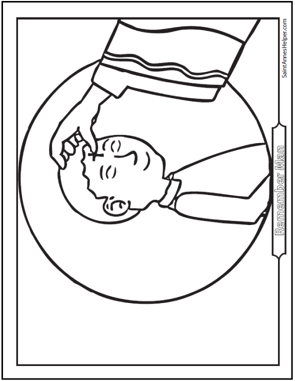 Boy Ash Wednesday coloring page