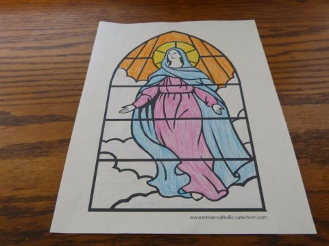 Stained Glass Window Assumption Of Mary Into Heaven Picture For Kids To Color