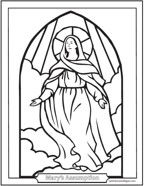 Rosary Coloring Pages: Assumption of Mary Into Heaven Stained Glass