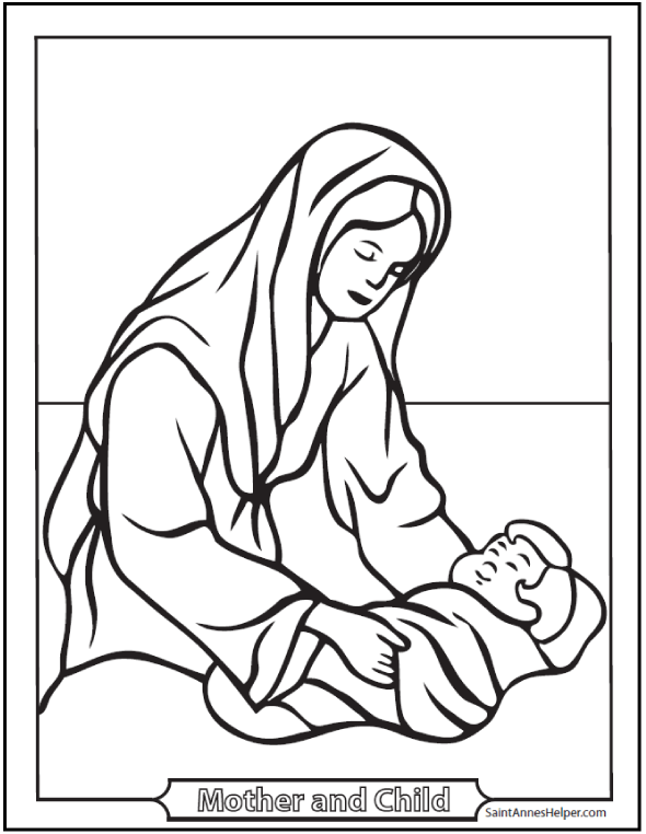 Free Bible Coloring Pages: Baby Jesus And Mary Nativity