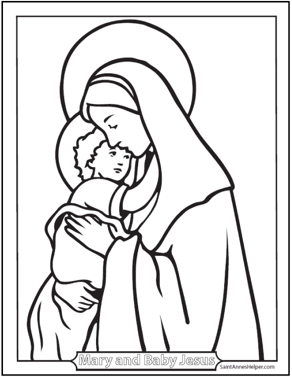 Madonna and Child, Mary and Jesus coloring page. Great for Christmas and teaching the prayers of the Rosary.