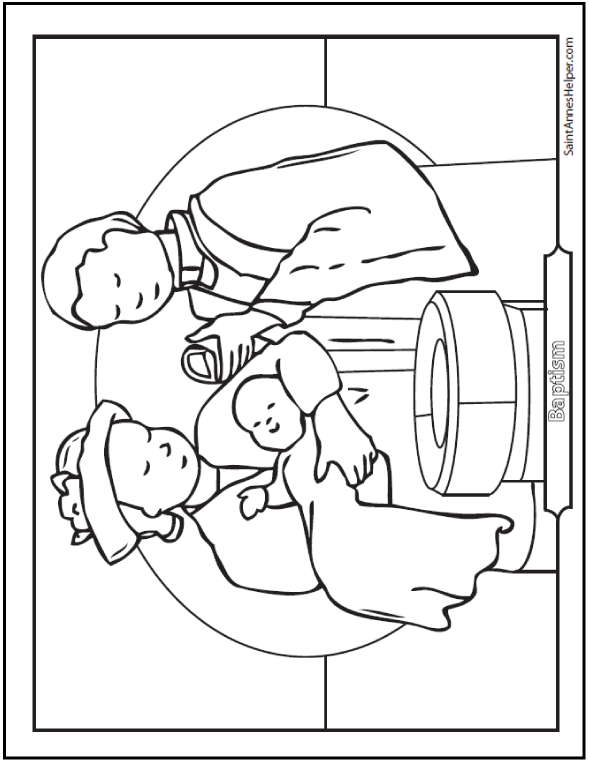 Baptism coloring sheet of priest, Godmother, and baby at the font.