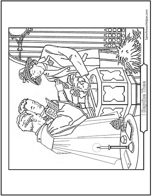 Baptism Coloring Pages: Godparents and Priest