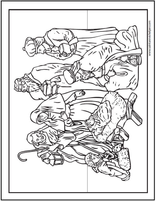 Christmas Coloring Page: Nativity scene with Jesus, Mary, and Joseph; shepherds and lambs.