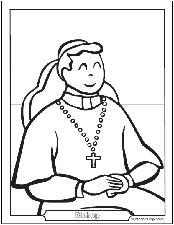 Catholic Bishop Coloring Page: Pectoral Cross and Cap