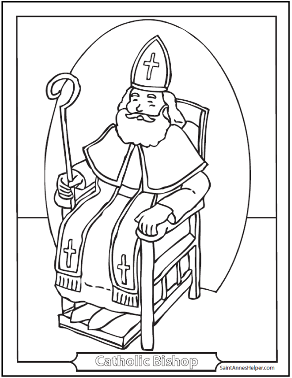 Catholic Bishop Coloring Page: Crozier and Throne.