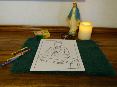 Before - Boy First Communion Coloring Page