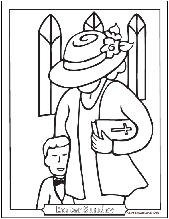 Easter Sunday Coloring Picture: Boy, Mother, Church