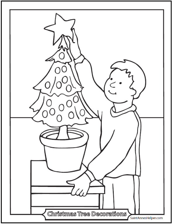 Christmas Tree Coloring Page - Boy Decorating The Christmas Tree With Star