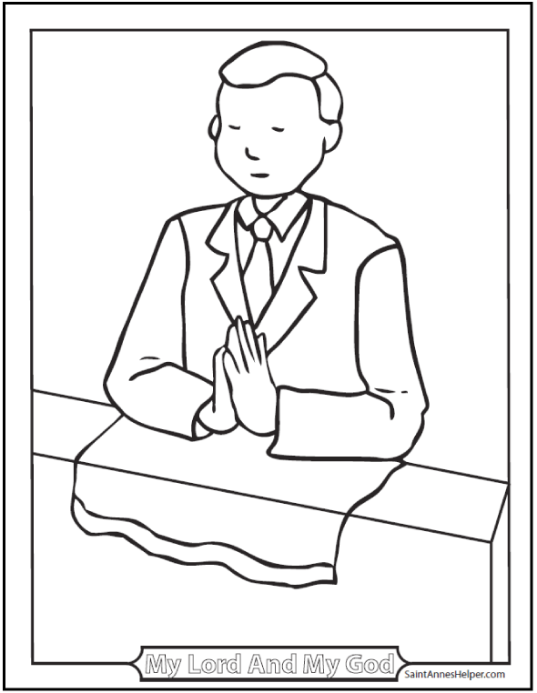 Boy Communion Catholic Coloring Page