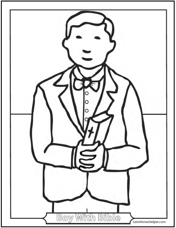 Children Bible Coloring Pages: Boy with Bible for First Communion, Confirmation, Sunday school activities.