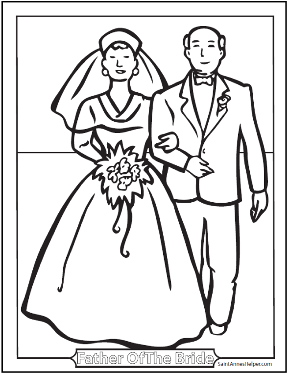 Sacrament of Matrimony Coloring Sheet: Bride and her Dad.