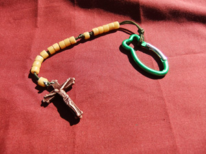 Butterscotch Tube Bead Rosary on a green cord with a car clip.
