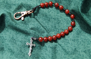 Carnelian Stone Bead Rosary. Carnelian is a beautiful red colored stone. Sometimes it has an orange tint to it.