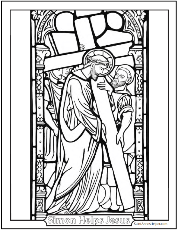 Printable Bible Story Coloring Page: Jesus Carrying His Cross