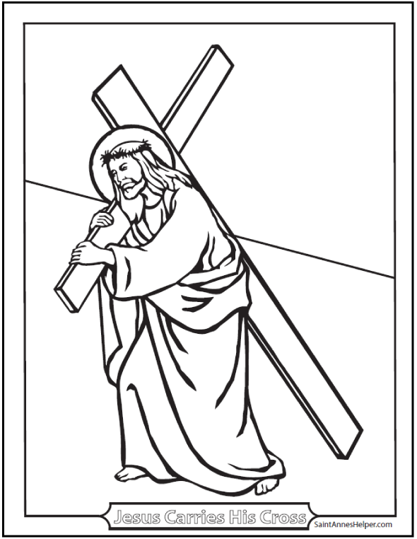Jesus Carries His Cross coloring printable. Lent and Fourth Sorrowful Mystery