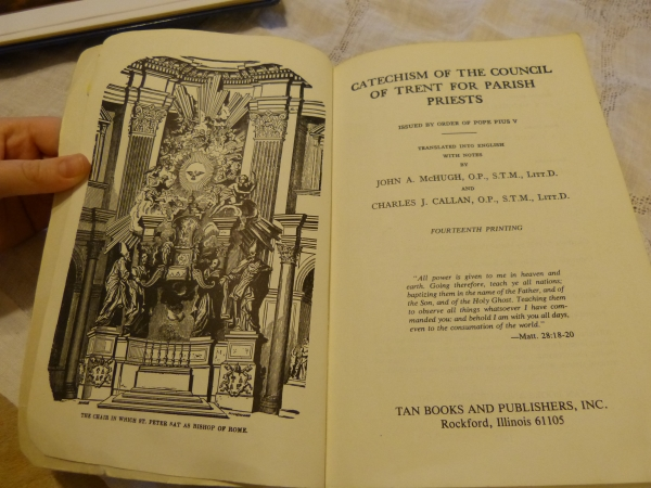 The Catechism of the Council of Trent frontispiece has a wonderful image of the Chair of Peter.