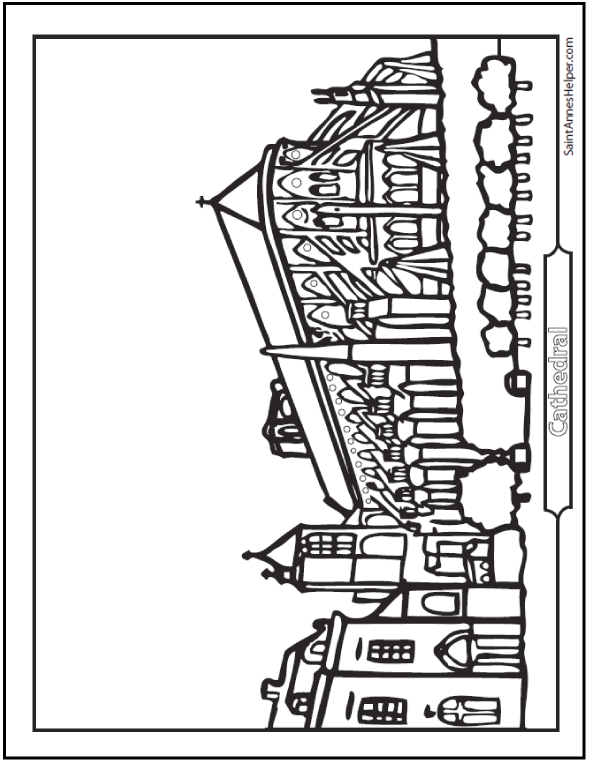 Cathedral Coloring Page with flying buttresses, towers, and bushes