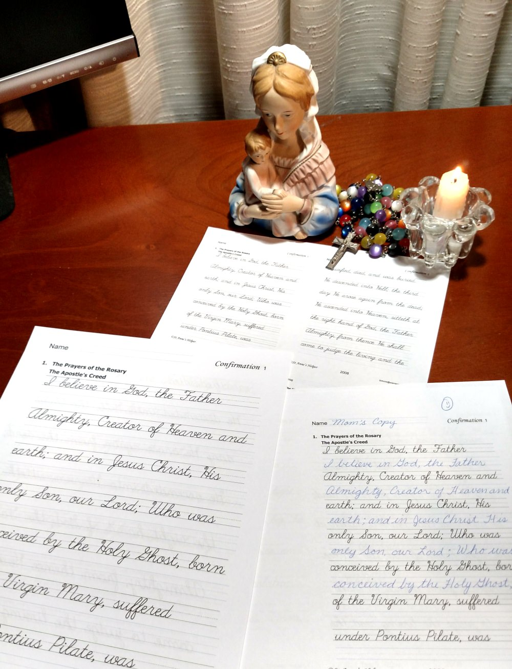 Catholic Confirmation Quiz and handwriting worksheets. Print in three sizes, both cursive and manuscript.