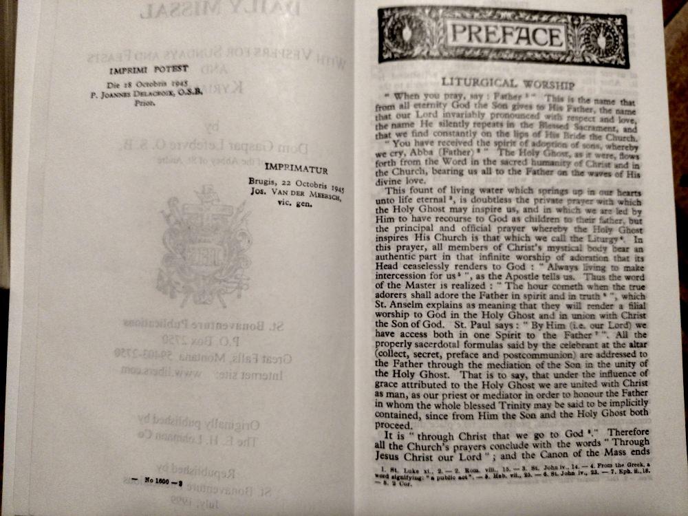 Catholic Missal: 1945 Saint Andrew Daily Missal by St. Bonaventure Publications, imprimatur page.
