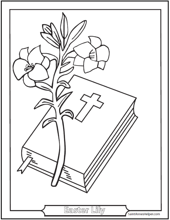 Easter Coloring Pages Printable: Lily and Bible