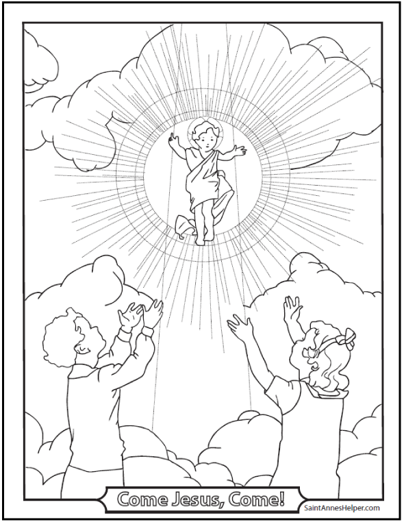 Children and Baby Jesus Coloring Pages of Christmas