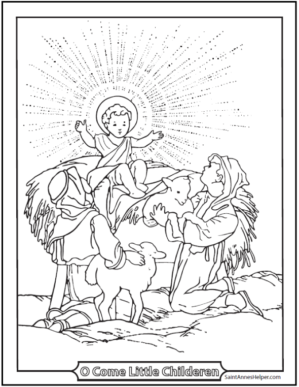 baby jesus christmas coloring page shepherds and lambs at the crib - Coloring Pages Christmas Jesus
