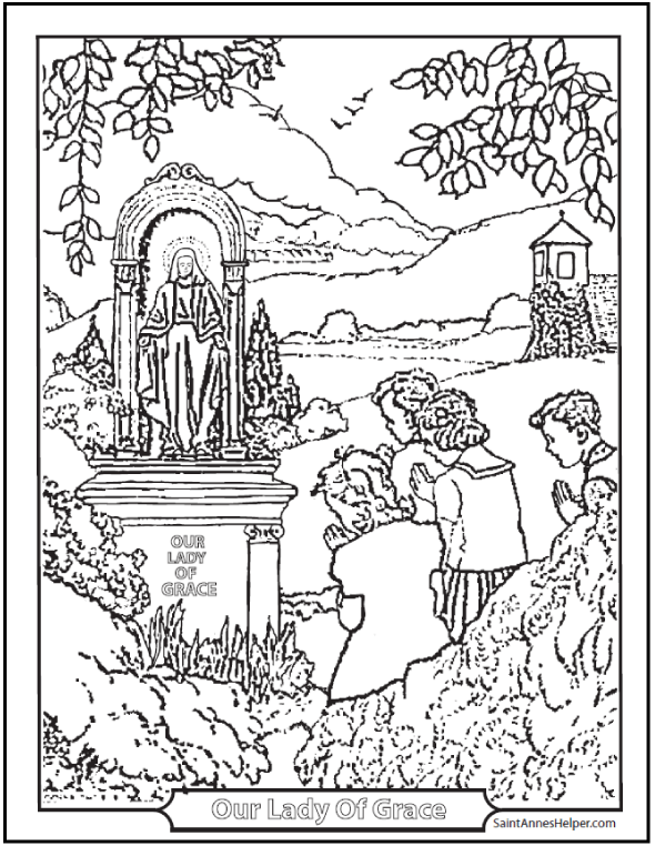 children at a shrine catholic coloring page - Children Coloring Pages