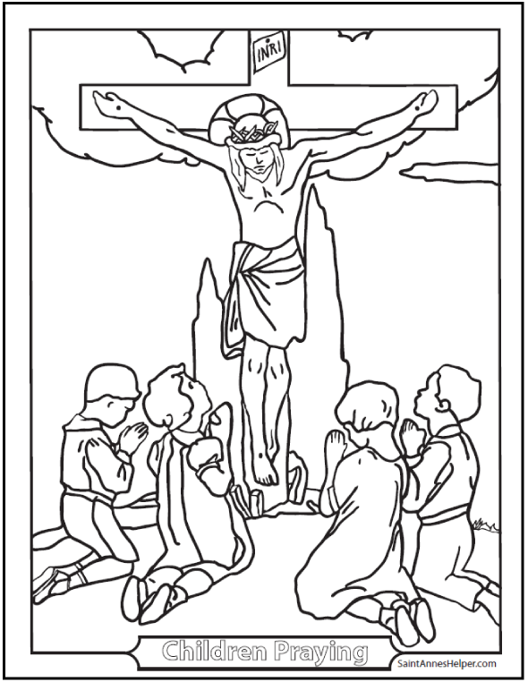 Children Praying at Crucifix Catholic coloring page