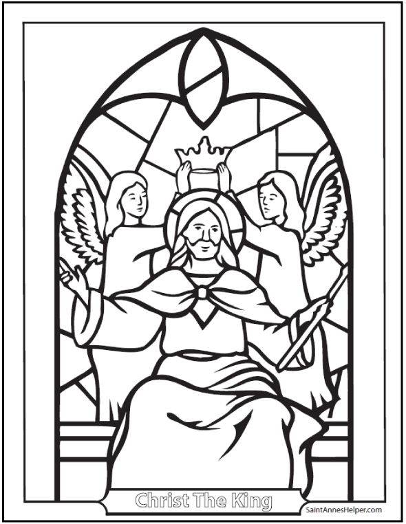 Catholic Saints Coloring Page: Jesus Christ King of Saints