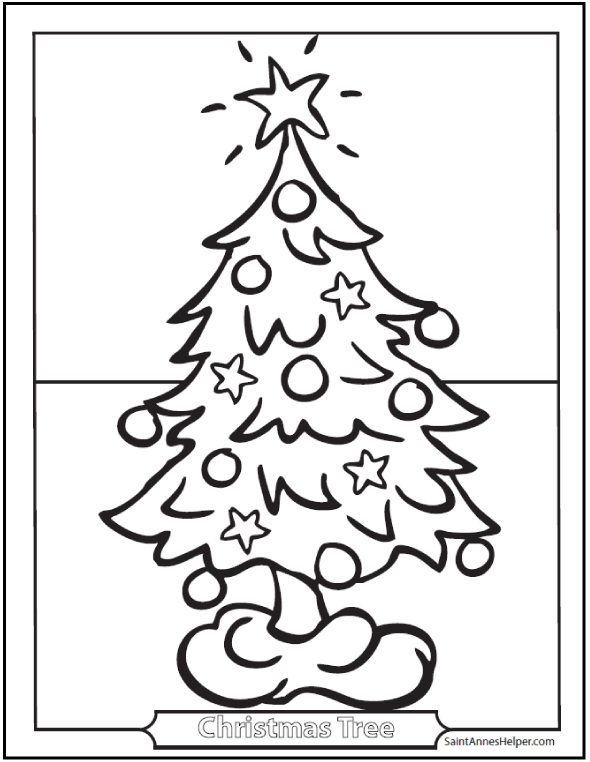 Christmas Tree Coloring Pages - Ornaments and star.