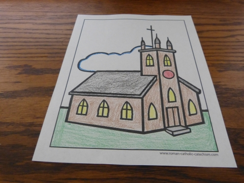 Simple Church Coloring Page