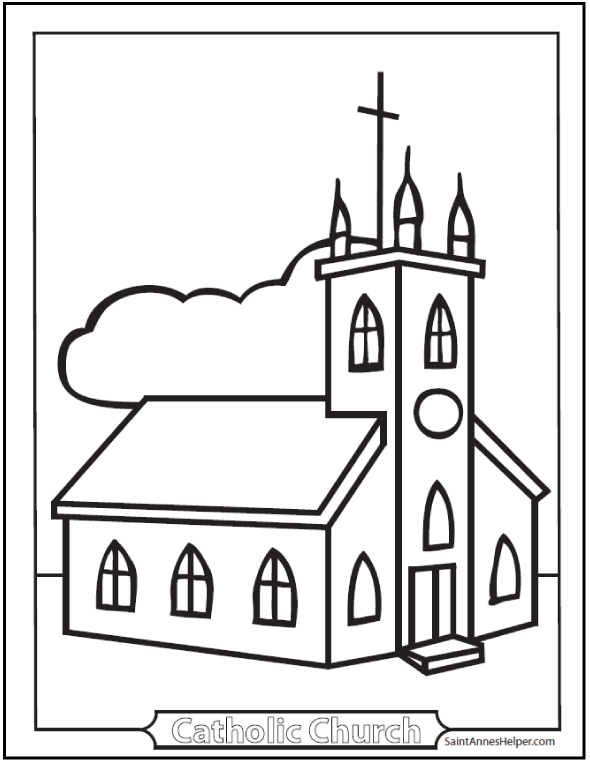Simple Church Coloring Pages