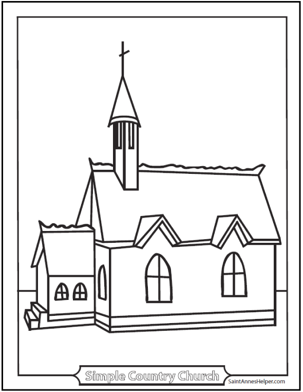 Simple Country Church Coloring Page