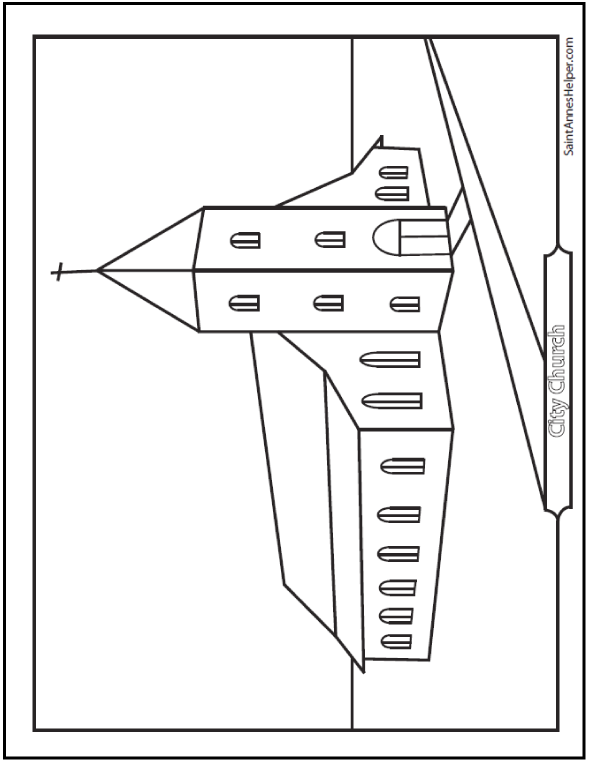 print city church coloring page