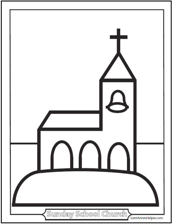 Preschool Church Coloring Page