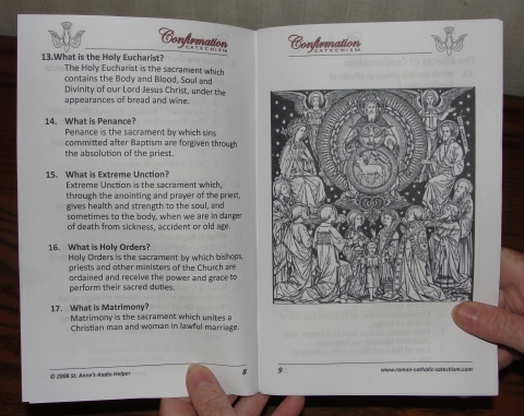 Printable Confirmation Preparation Booklet Picture: Communion of Saints. The Baltimore Catechism text covers the sacraments.