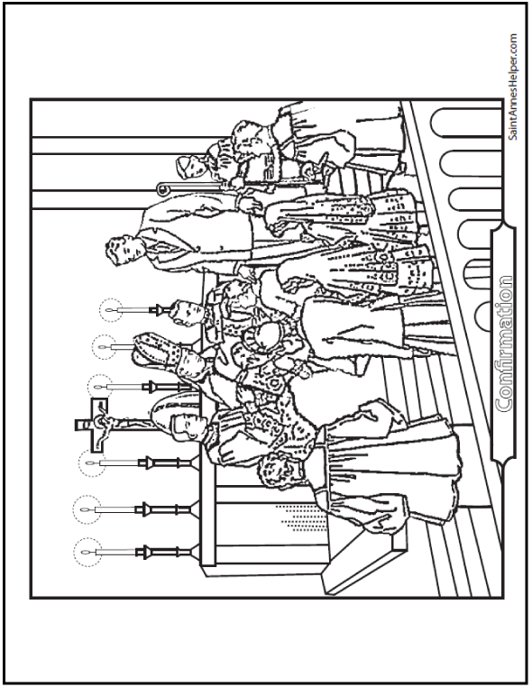 Confirmation Coloring Page: Bishop, priests, altar boys, sponsors and Confirmation boys and girls.