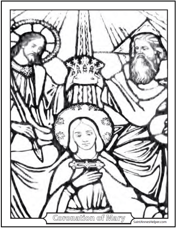 Crowning of Mary Picture For Kids To Color. Coronation. Fifth Glorious Mystery of the Rosary.