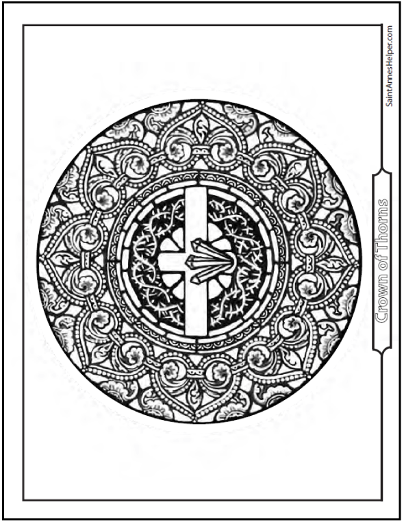 Jesus Crown of Thorns: Stained Glass Coloring Page