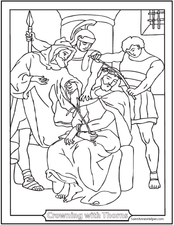 Jesus Crowned With Thorns Coloring Page. Third Sorrowful Mystery..