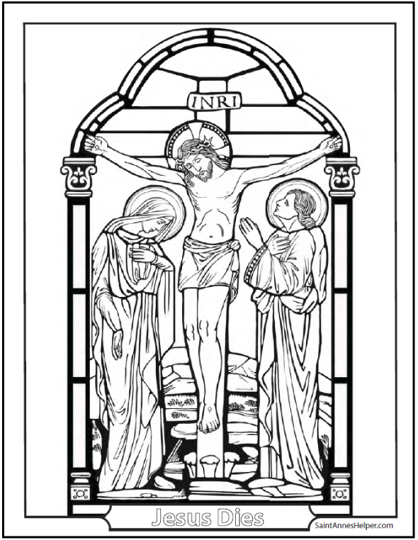 Good Friday Coloring Page: Mary and John at the foot of the Cross.