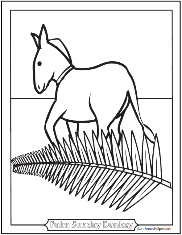 Palm Sunday Donkey Coloring Page