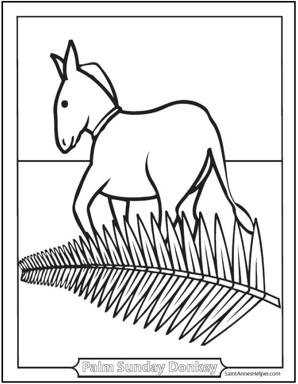 Palm Sunday Donkey Coloring Page