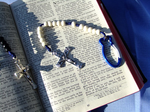 First Communion Gifts: White and black rosaries