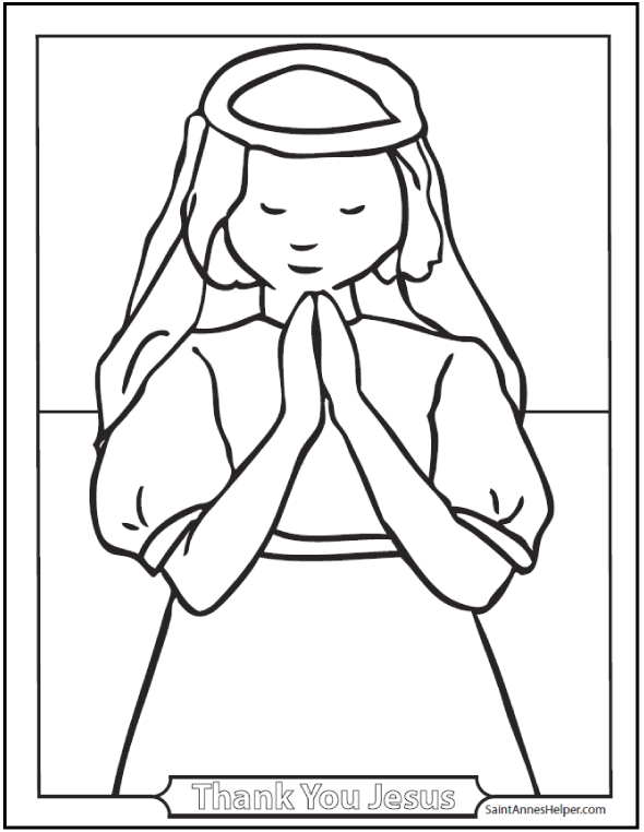 First Communion Girl Catholic Coloring Page: Thank you Jesus!