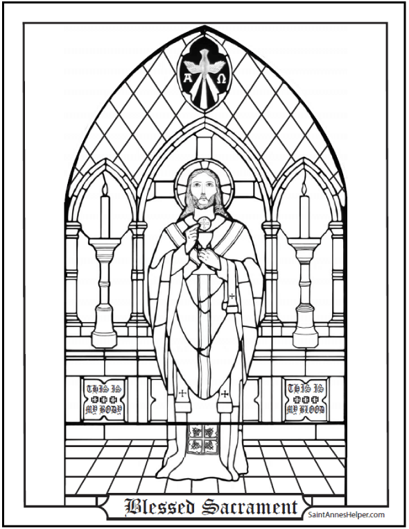 Catholic Sacraments: Blessed Sacrament First Communion Coloring Page