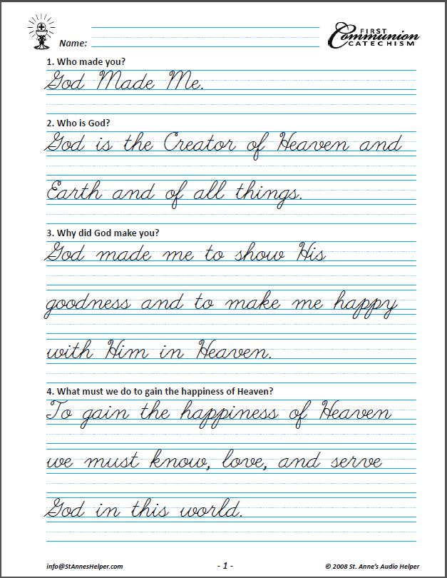 Printables Cursive Writing Worksheets Pdf catholic first communion baltimore catechism copybook saint annes helper cursive copybook