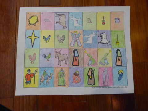 Free Printable Advent Calendar to color.  ❤+❤ See SaintAnnesHelper.com Thank you for sharing! :-) #SaintAnnesHelper #CatholicHomeschool #CatholicCatechism #CatholicColoringPages #Advent