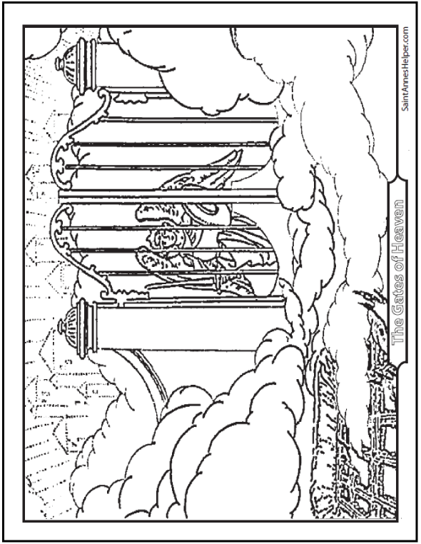 heaven coloring pages Heaven Coloring Page: Angel At The Gates heaven coloring pages